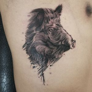 Wild boar tattoo by Pig Legion #wildboar #warthog #boar #pig #animal