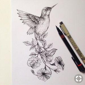 Humming bird flower tattoo sketch #hummingbird #hummingbirdtattoo #hummingbirds #sketch #floral #realistic #leaf #flowers #birdtattoo #bird #animal #floral #floraltattoo