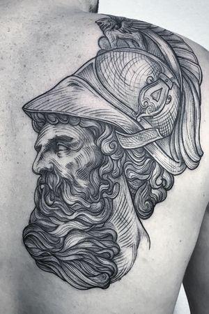 Antique head. Zeus 🍂 #lescrowtattoo #engravingtattoo #art #antique #engraving