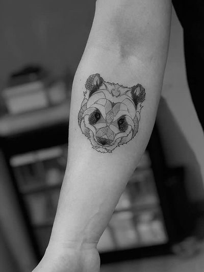 Panda #panda #geometrictattoo #line #blackandgrey #dotwork #illustration
