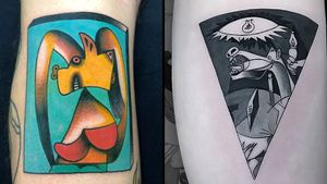 Tattoo on the left by Javier Bergasa aka SINSENTIDO10 and tattoo on the left by Atrahiel #Atrahiel #JavierBergasa #SINSENTIDO10 #picassotattoos #picassotattoo #picasso #fineart #painting #art