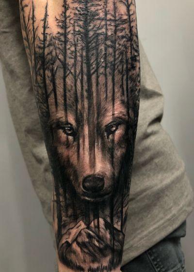 #wolftattoo #woods #forrest #nature #naturetattoo #blackandgrey #Black #wolf #dc #halfsleeve #sleeve #forearm #forrest #mountain #animal