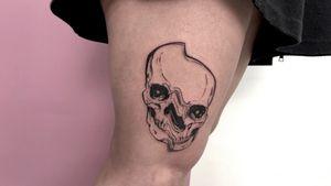 Done on @_vale_pein.  #Black #blackwork #skull #skulltattoo #tattoo #tattooart #illustrative