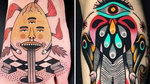 Tattoo on the left by Rion and tattoo on the right by David Troika #DavidTroika #Rion #weirdtattoos #weird #strange #surreal #unique #different