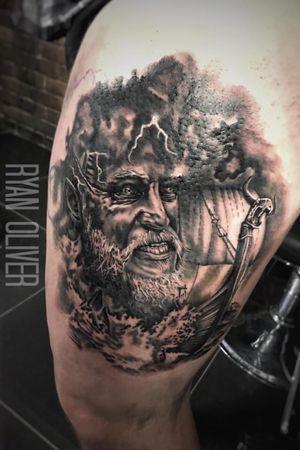 Ragnar lothbrok portrait with viking long boat