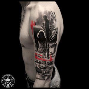Realistic trash polka style . The raven #vladimircherep #kraskatattooink #tattooup #colortattoo #trashpolka #eztattooing #trashpolkatattoo #inkfreakz #blackandgrey #grindcore #tattooinmoscow #besttattoo #realistictattoo #brand #style #tattooinrussia #moscow #grindcoretattoo #владимирчереп #трэшполька #тату #бренд #стиль
