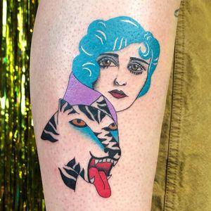 Tattoo by Albie aka albiemakestattoos #Albie #albiemakestattoo #80s #decorevival #surreal #illustrative #strange #funny #color #portrait #cat #junglecat #tiger #ladyhead