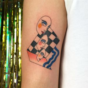 Tattoo by Albie aka albiemakestattoos #Albie #albiemakestattoo #80s #decorevival #surreal #illustrative #strange #funny #color #portrait #faces