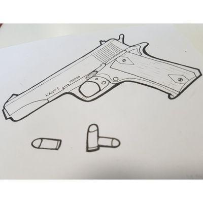 Gun sketch 🔫 Check out my instagram @kast_one #Kast #Kastone #gun #pistol #handgun #030 #420 #newschool #graffiti #style #tattoo #sketch #berlin #character