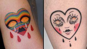 Tattoo on the left by Nadya Natassya and tattoo on the right by Carlos Galant #CarlosGalant #NadyaNatassya #cryinghearttattoos #cryinghearttattoo #cryingheart #heart #tears #love #heartbreak