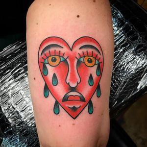 Tattoo by Ashley Dawn #AshleyDawn #cryinghearttattoos #cryinghearttattoo #cryingheart #heart #tears #love #heartbreak #color #traditional
