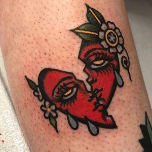 Tattoo by Grace LaMorte #GraceLaMorte #cryinghearttattoos #cryinghearttattoo #cryingheart #heart #tears #love #heartbreak #color #traditional #flower #floral