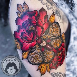 Tattoo by Giorgia Mae #GiorgiaMae #mothtattoos #mothtattoo #moth #butterfly #insect #nature #animal #neotraditional #gold #filigree #peony #flower #floral #plant