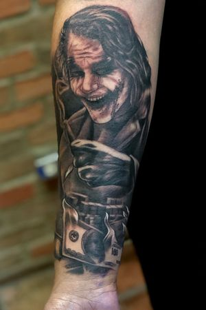 """Custom """"The Dark Knight"""" Joker. Msg me if you're interested in getting tattooed. Dallas and San Antonio, Tx."""