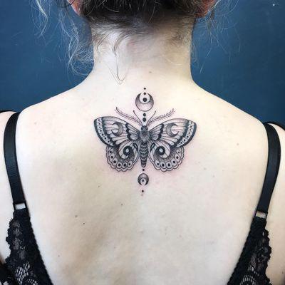 Tattoo by George aka geeorgettt #George #Geeorgettt #mothtattoos #mothtattoo #moth #butterfly #insect #nature #animal #illustrative #blackwork #moon #dotwork