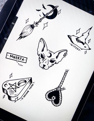 Witchy mooood ✨ #flash #witch #witchy #ouija #dotwork #blackwork #drawing #wannado #cute #tattooartist #art#swisstattoo #halloween