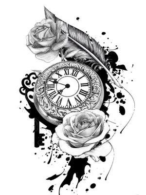 Pocket watch floral sketch tattoo #pocketwatch #time #clock #clocktattoo #floral #flower #flowers #rose #roses #sketch