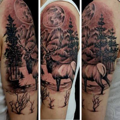 Finished off today.. #stag #mountains #landscapetattoo #blackandgray