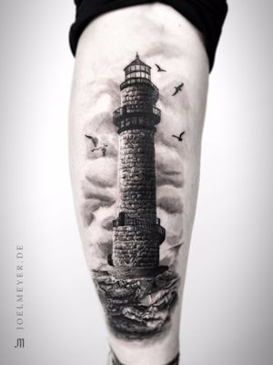 Lighthouse Realistic Tattoo Black and Grey
