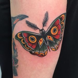 Tattoo by Guen Douglas #GuenDouglas #mothtattoos #mothtattoo #moth #butterfly #insect #nature #animal #color #traditional