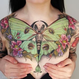 Tattoo by Samantha Smith #SamanthaSmith #scragpie #mothtattoos #mothtattoo #moth #butterfly #insect #nature #animal #flower #floral #plants #color #neotraditional