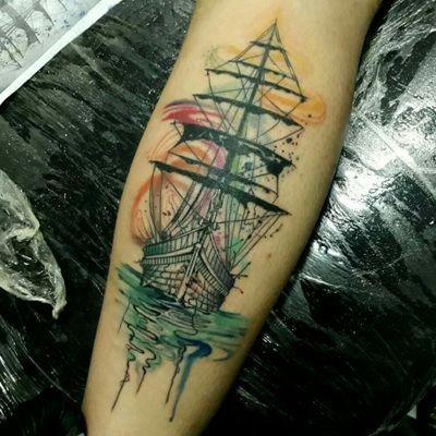 #tattooartist #tattoo #watercolortattoos #watercolor #acuarelatattoo #shiptattoo #ship #barco