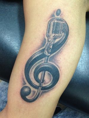 #musicalnote #microphone #musictattoo #blackandgraytattoos #intenzeink