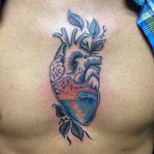 #hearttattoo #beachtattoo #lineworktattoo #chestpiece #intenzeink