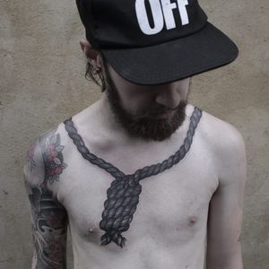 Tattoo by Apro Lee #AproLee #noosetattoos #noosetattoo #blackwork #illustrative #death #hanging #hanginthere #rope