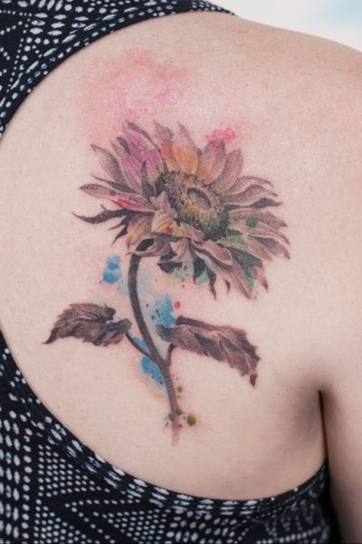 #sunflower #watercolortattoo