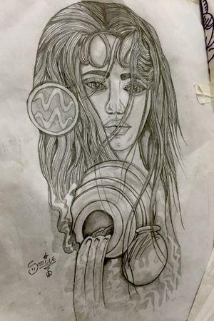Signo de aquario ( rosto feminino )