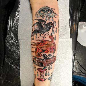 Tattoo by Sam Ricketts #SamRicketts #eyetattoos #eyetattoo #eye #psychedelic #surreal #strange #color #traditional #skull #death #fire #crow #bird #feathers #rain #tears #book #apple