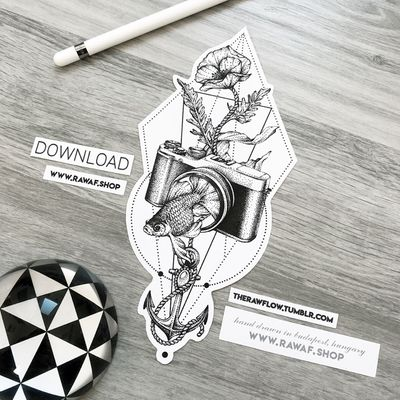 We love photo. 🖤 Unique camera tattoo design, download or order a temporary tattoo: www.rawaf.shop/tattoo or follow on Instagram (the_rawflow) for new designs every week. #dotwork #blackwork #black #blackandgrey #camera #fish #anchor #abstract #surreal #poppy #flower
