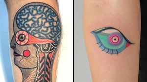 Tattoo on the left by Teide and tattoo on the right by Amanda Wachob #Teide #AmandaWachob #eyetattoos #eyetattoo #eye #psychedelic #surreal #strange
