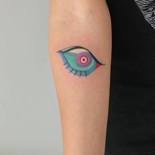 Tattoo by Amanda Wachob #AmandaWachob #eyetattoos #eyetattoo #eye #psychedelic #surreal #strange #watercolor #painterly #abstract #color
