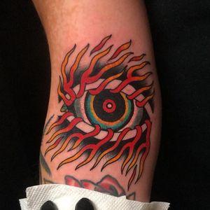Tattoo by Dave Halsey #DaveHalsey #eyetattoos #eyetattoo #eye #psychedelic #surreal #strange #thirdeye #fire #color
