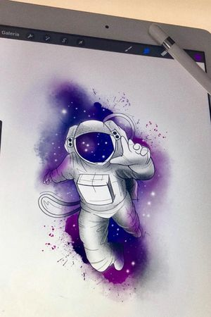 #astronauta #astronaut #espaço #space #universo #universe #galaxia #galaxy #nasa #colorida #colorful #aquarela #watercolor #artfusionconcept #saopaulo #brasil #tatuadoresdobrasil