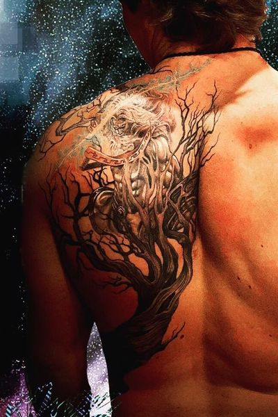 Zeus, hurling his thunderbolt, emerges from within a twisted, dead tree. Black and gray, white ink accents, and a light teal to make the lightning glow. Upper view. Done by Brian @Bonnevilletattoo............…..... #blackandgray #realism #twisted #dead #tree #zeus #god #lightning #thunderbolt #shield #back #backtattoo #shoulder #side #detailed #fineline #dark #black #tattoooftheday #nature #favorite