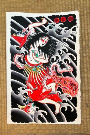 Tamatori painting #italianjapanesetattoo #top_class_tattooing #japanart #topttattooing #topclasstattoing #bright_and_bold #americanatattoos #italian_traditional_tattoo #friendship #realtraditional #inked #oriemtaltattoo #tattoo #tattooes #tattooitaly #convention #tattoolife #tattoolifemagazine #inkart #tattooartistmagazine #bologna #tattoobologna #bolognatattoo #horrorvacuitattoo #tatuaggibologna #tttism #japanesetattoo