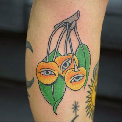 Tattoo by Patryk Hilton #PatrykHilton #eyetattoos #eyetattoo #eye #psychedelic #surreal #strange #fruit #leaf #thirdeye food #plum