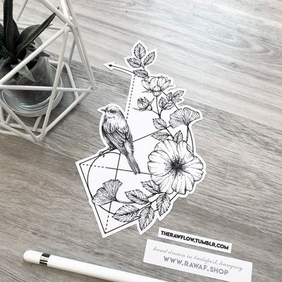 Golden ratio + sparrow + flowers. Light and delicate dotwork tattoo, available in the flowers design collection with dozens of similar designs, for the price of 1 large design. Get it or browse our almost hundred available designs: www.rawaf.shop/tattoo Instagram: the_rawflow #dotwork #blackwork #geometric #bird #sparrow #rose #flower #goldenratio #black #blackandgrey #animal