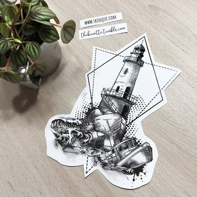 Lighthouse with a sinking ship. More designs: www.skinque.com or follow me on Instagram for new designs! @thebunettedesigns #blackwork #black #blackandgrey #ship #sea #nature #geometric #abstract #sketch #lighthouse #ocean #sea