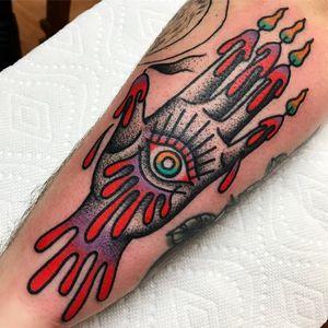 Tattoo by Vinny Morris #VinnyMorris #eyetattoos #eyetattoo #eye #psychedelic #surreal #strange #thirdeye #hand #candles #flame #esoteric #color #darkart