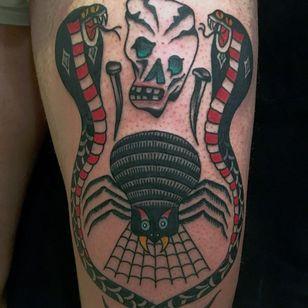 Tattoo by Jonas Nyberg #JonasNyberg #spiderwebtattoo #spiderwebtattoos #spiderweb #spider #nature #linework #oldschool #snake #reptile #cobra #skull #death