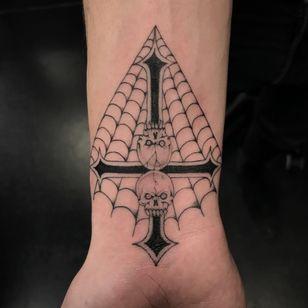 Tattoo by Sera Helen #SeraHelen #spiderwebtattoo #spiderwebtattoos #spiderweb #spider #nature #linework #oldschool #upsidedowncross #cross #skull #death