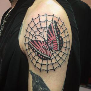 Tattoo by drinkingnectar #drinkingnectar #spiderwebtattoo #spiderwebtattoos #spiderweb #spider #nature #linework #oldschool #butterfly