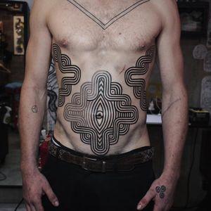 Tattoo by James Lau #JamesLau #blackwork #linework #tribal #dotwork #ornamental #pattern #sacredgeometry