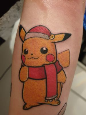 Christmas Pikachu #gamingtattoo #nintendotattoo #Nintendo #Pikachu #pokemon #christmastattoo #christmas