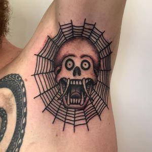 Tattoo by Luckman Tattoos #LuckmanTattoos #spiderwebtattoo #spiderwebtattoos #spiderweb #spider #nature #linework #oldschool #skull #death