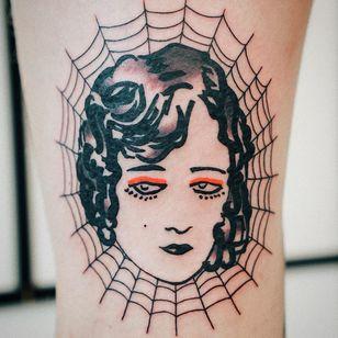 Tattoo by Antoine Larrey #AntoineLarrey #spiderwebtattoo #spiderwebtattoos #spiderweb #spider #nature #linework #oldschool #lady #ladyhead